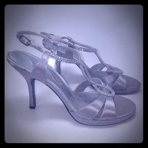 Nina Women's size 8.5 silver embellished heels